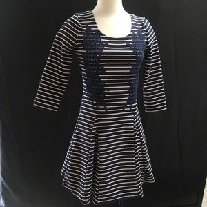 Free People navy and white striped dress
